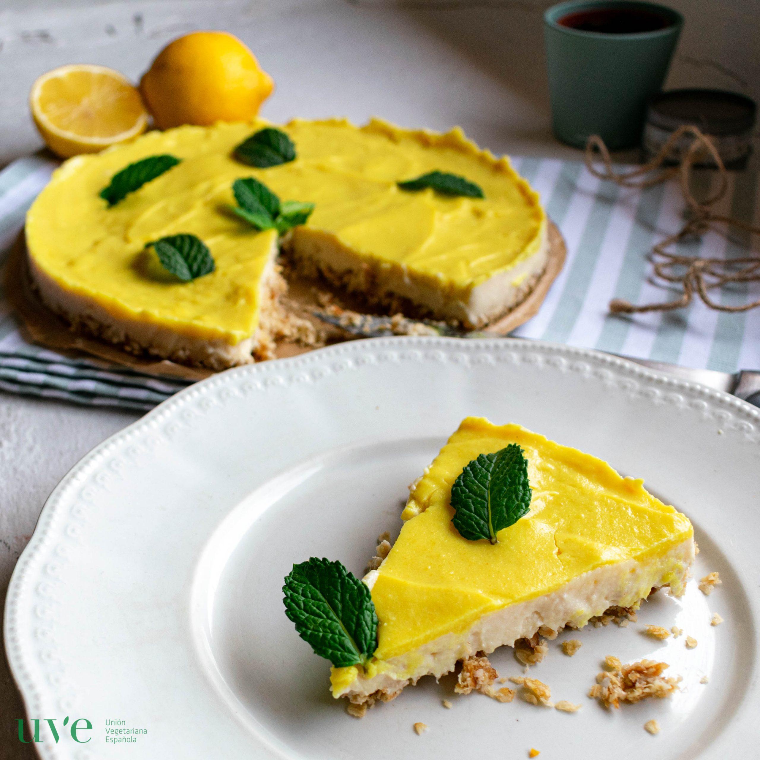 Tarta de limón proteica con tofu